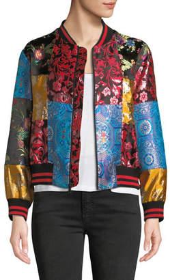 Alice + Olivia Lila Oversize Patchwork Bomber Jacket
