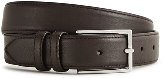 Reiss Martin - Formal Leather Belt in Dark Brown