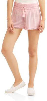 No Boundaries Juniors' Solid Crochet Waistband Short w/ Fringe Hem Shorts