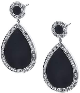 Sylvie 14k White Gold Black Onyx and Diamond Earrings