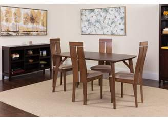Flash Furniture Graham 5 Piece Walnut Wood Dining Table Set with Clean Line Wood Dining Chairs - Padded Seats