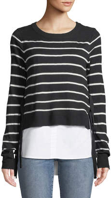 Black Tape Striped Pullover Twofer Sweater with Undershirt Combo