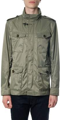 Fay Military Green Fabric Down Jacket