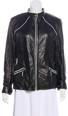 St. John Leather Zip-Up