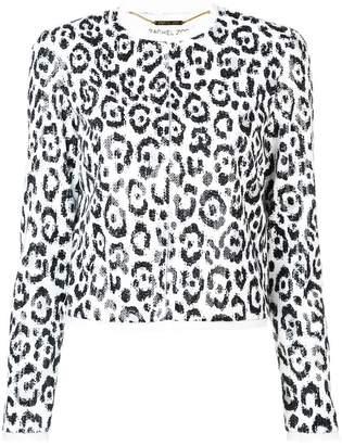 Rachel Zoe leopard print cropped jacket