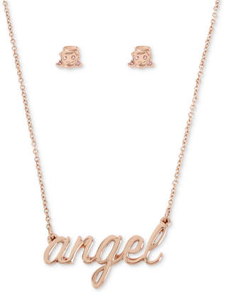 "Betsey Johnson Rose Gold-Tone Pave Angel Pendant Necklace & Stud Earrings Set, 16"" + 3"" extender"