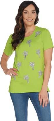 Factory Quacker Short Sleeve Knit T-Shirt with Silver Beaded Motif
