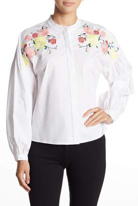 Cynthia Steffe CeCe by Embroidered Long Sleeve Blouse