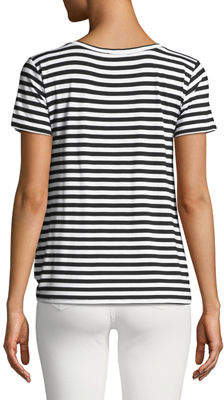Neiman Marcus Striped Twist-Front Draped Tee