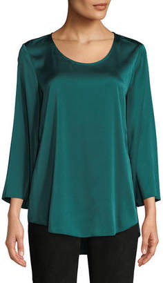 Eileen Fisher 3/4-Sleeve Silk Charmeuse Blouse, Plus Size