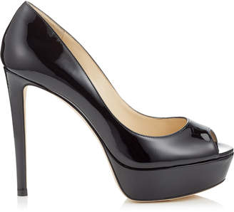 Jimmy Choo JEANETTE 120 Black Patent Leather Platform Sandals