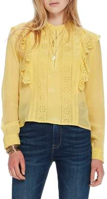 Scotch & Soda Ruffle Embroidered Eyelet Top