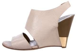 Chloé Leather Peep-Toe Wedges