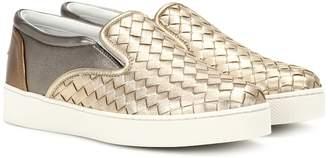 Bottega Veneta Metallic leather sneakers