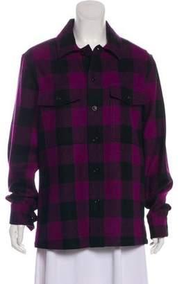 Ami Alexandre Mattiussi Virgin Wool Plaid Button-Up