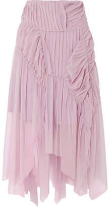 Preen by Thornton Bregazzi Eulalia Pleated Tulle Midi Skirt - Lilac