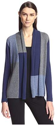 Society New York Women's Colorblocked Open Cashmere Cardigan