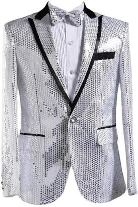 FreelyMen Freely Men's 1 Button Costume Nightclub Sequin Glitter Dress Suit Jackets L