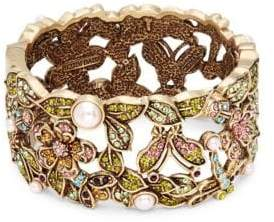 Heidi Daus Faux Pearl and Swarovski Crystal Garden Bangle Bracelet
