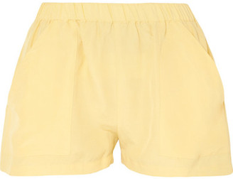 MATIN - Racer Silk And Linen-blend Shorts - Pastel yellow