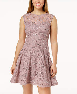 Speechless Juniors' Sequined Lace Bow-Back Dress