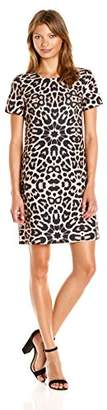 Tommy Hilfiger Women's Sunburst Leopard Short Sleeve Shift
