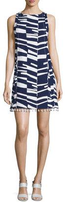 Trina Turk Sleeveless Modern-Print Shift Dress w/Beaded Tassels $328 thestylecure.com