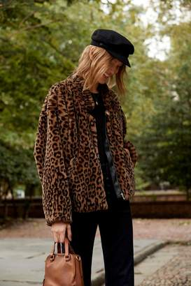 Furry Animal Print Bomber Jacket