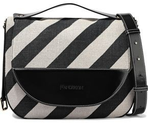 J.W.Anderson Moon Large Striped Canvas, Glossed-leather And Suede Shoulder Bag