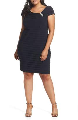 Xscape Evenings Embellished Portrait Collar Shutter Pleat Cocktail Sheath Dress