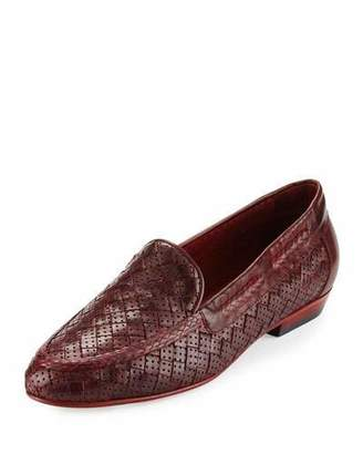 Sesto Meucci Nellie Perforated Woven Flat Loafer, Red $255 thestylecure.com