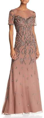 Aidan Mattox Embellished Illusion Gown