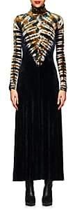 Proenza Schouler Women's Tie-Dyed Velvet Maxi Dress - Ylw, Blk, Wht