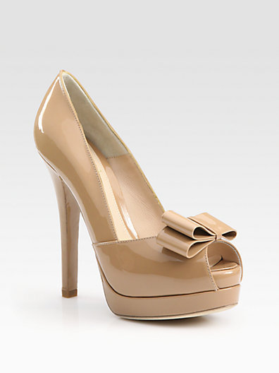 Fendi Deco Patent Leather Peep Toe Bow Pumps