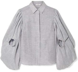 Co Pinstriped Textured Linen And Silk-blend Blouse - Storm blue