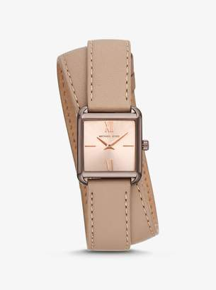Michael Kors Lake Sable-Tone and Leather Wrap Watch