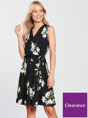 Wallis Lily Bouquet Fit And Flare Wrap Dress - Black
