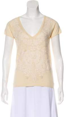 Christian Lacroix Embroidered Silk & Cashmere Top
