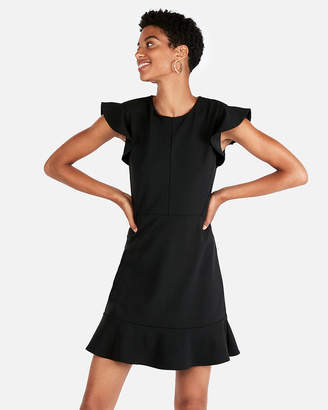 Express Petite Ruffle Sleeve Fit And Flare Dress