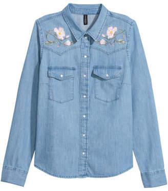 H&M Embroidered Denim Shirt - Blue