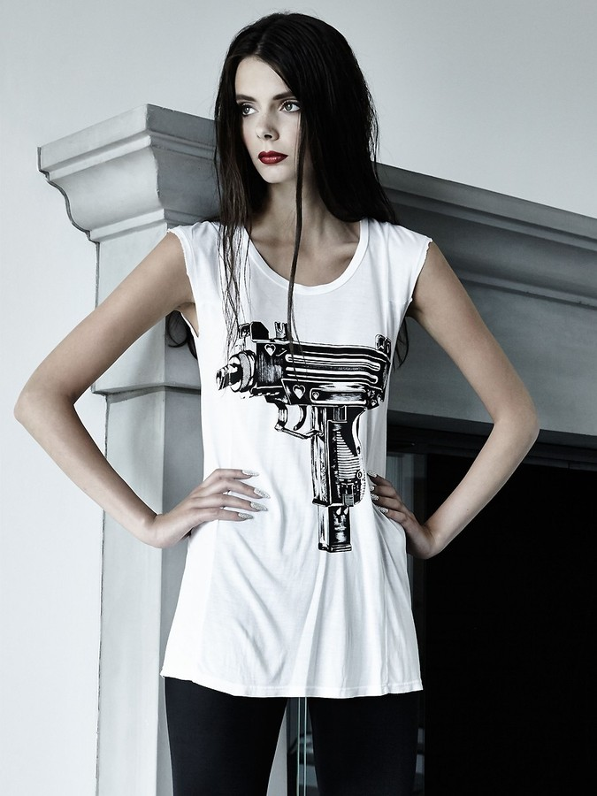 Lauren Moshi Tess Love Gun Short Sleeve Tee with Inserts