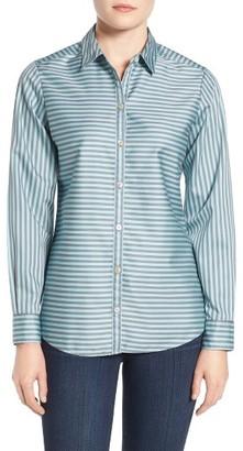 Petite Women's Foxcroft Stripe Non-Iron Sateen Blouse $89 thestylecure.com