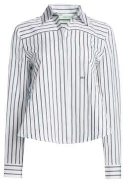 Off-White Striped Floral-Back Foulard Shirt