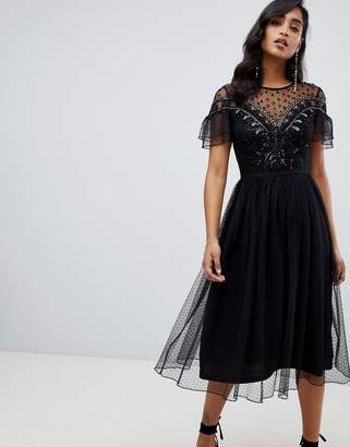 Frock and Frill Frock And Frill mesh embellished midi dress in black