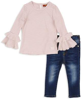 7 For All Mankind Girls' Ribbed Bell-Sleeve Top & Skinny Jeans Set - Little Kid