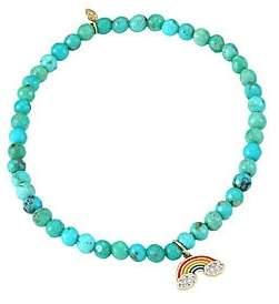 Sydney Evan Women's 14K Yellow Gold, Matrix Turquoise & Diamond Rainbow Charm Bracelet