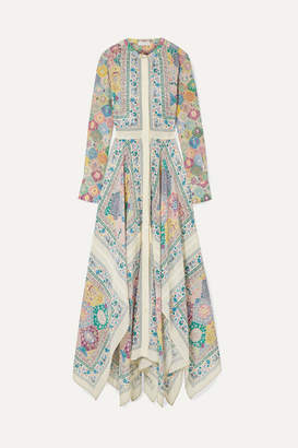 Altuzarra Tamourine Asymmetric Printed Silk Crepe De Chine Maxi Dress - Off-white
