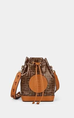 Fendi Women's Mon Tresor Leather-Trimmed Coated Canvas Bucket Bag - Tan