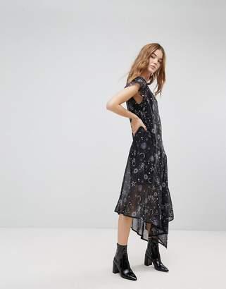 New Look Sheer Galaxy Printed Asymmetric Hem Dress
