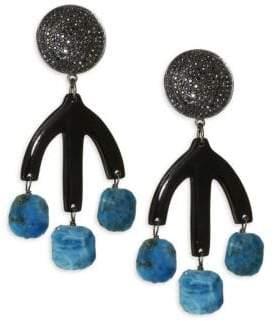 Pave Horn Teal Apatite Drop Earrings